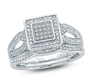 EternalDia 1/5 Ct Round Diamond Quad Square Shape Engagement Wedding Set In Sterling Silver. (IJ/I2) - EternalDia