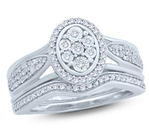 EternalDia 1/4 Ct Round Diamond Oval Shaped Halo Engagement Wedding Set In Sterling Silver. (IJ/I2) - EternalDia