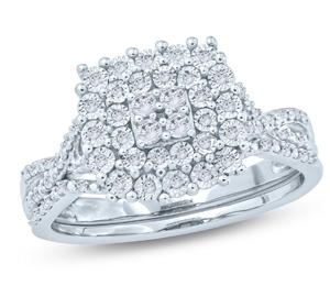 EternalDia 1/4 Ct Round Diamond Miracle Plate Square Halo Engagement Wedding Set In Sterling Silver (IJ/I2) - EternalDia