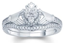 EternalDia White Diamond Claddagh Bridal Ring - EternalDia