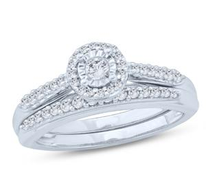 EternalDia 1/3 Ct Round Diamond Cathedral Halo Engagement Wedding Set In 10kt White Gold (IJ/I2) - EternalDia