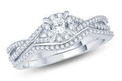 EternalDia Diamond Vintage-style Solitaire Bridal Set - EternalDia