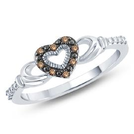 EternalDia Champagne Diamond Claddagh Fashion Ring - EternalDia