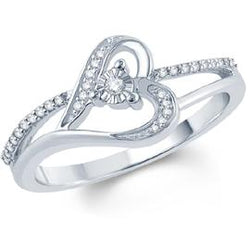 EternalDia White Diamond Heart Ring With Miracle Plate - EternalDia