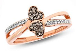 EternalDia White & Champagne Diamond Double Heart Fashion Ring - EternalDia