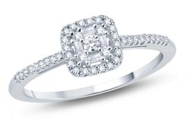 EternalDia Diamond Square Baguette Frame & Round Cut Fashion Ring - EternalDia