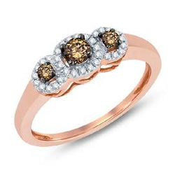 EternalDia Three Stone Halo Champagne Fashion Ring - EternalDia