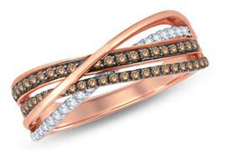 EternalDia Champagne Diamond Bypass Fashion Ring - EternalDia