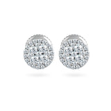 EternalDIa 0.48 Cttw Round Diamond Cluster Stud Earrings In 14K White Gold (0.48 Cttw, I-J Color, I2-I3 Clarity) Prongs-Setting, Screw-Back Clasps Halo Stud Earrings - EternalDia