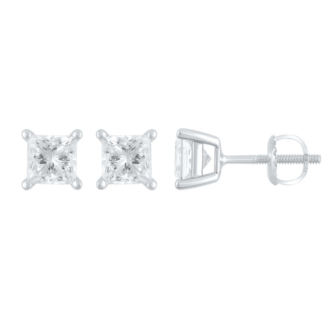Princess Cut 1.5 Cttw Diamond Solitare Stud Earrings In 14k White Gold