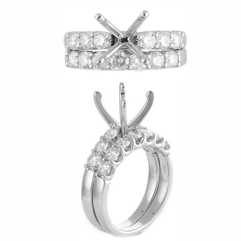 1.5 ct Diamond Semi-Mount Engagement Bridal Ring Set In 14k White Gold (3 Ct Centar) Ring Size US060