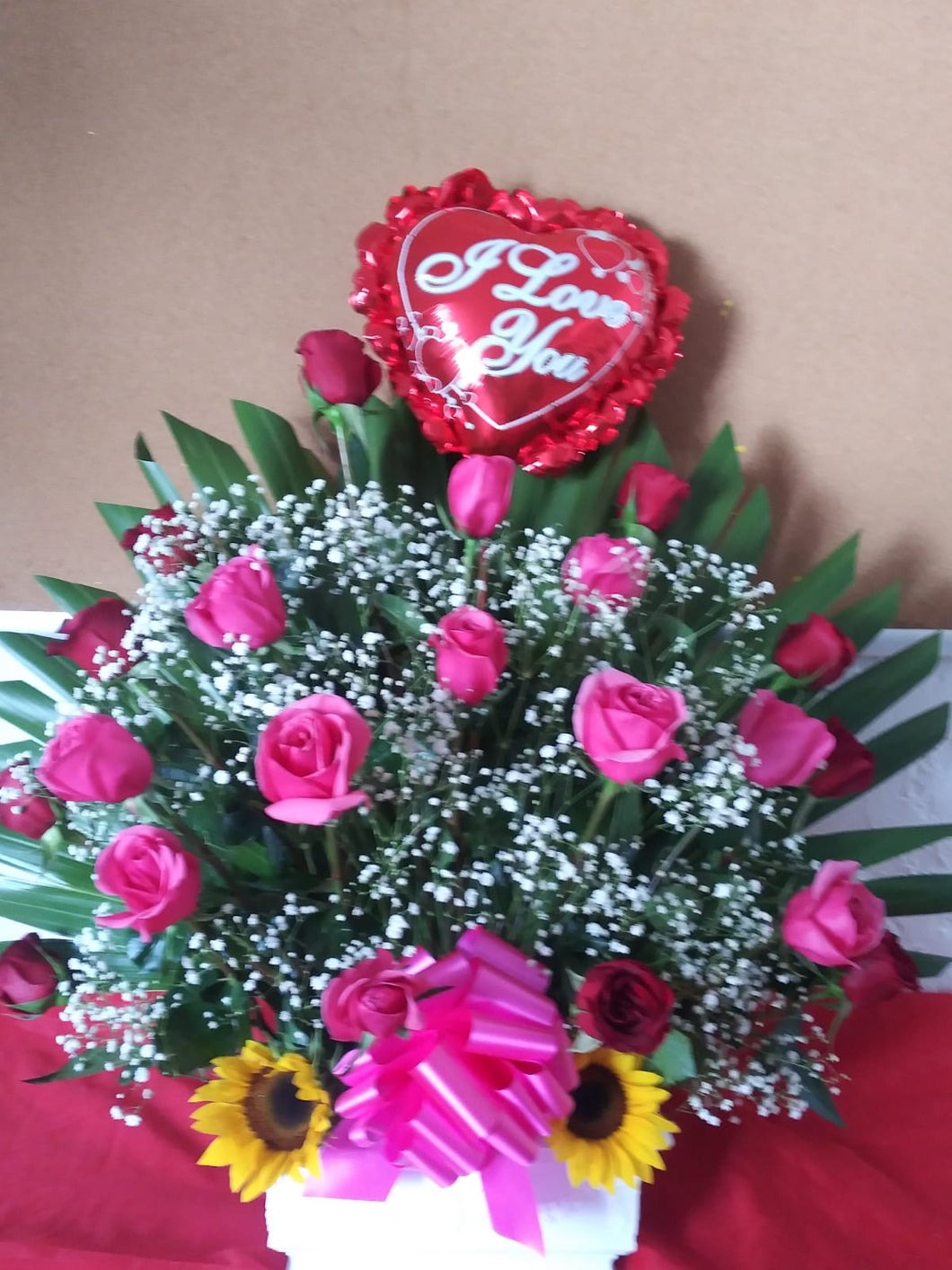 Pink, Red Roses and Sunflowers Arrangement