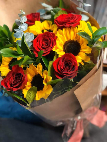 Roses and Sunflowers Bouquet (wrapped)