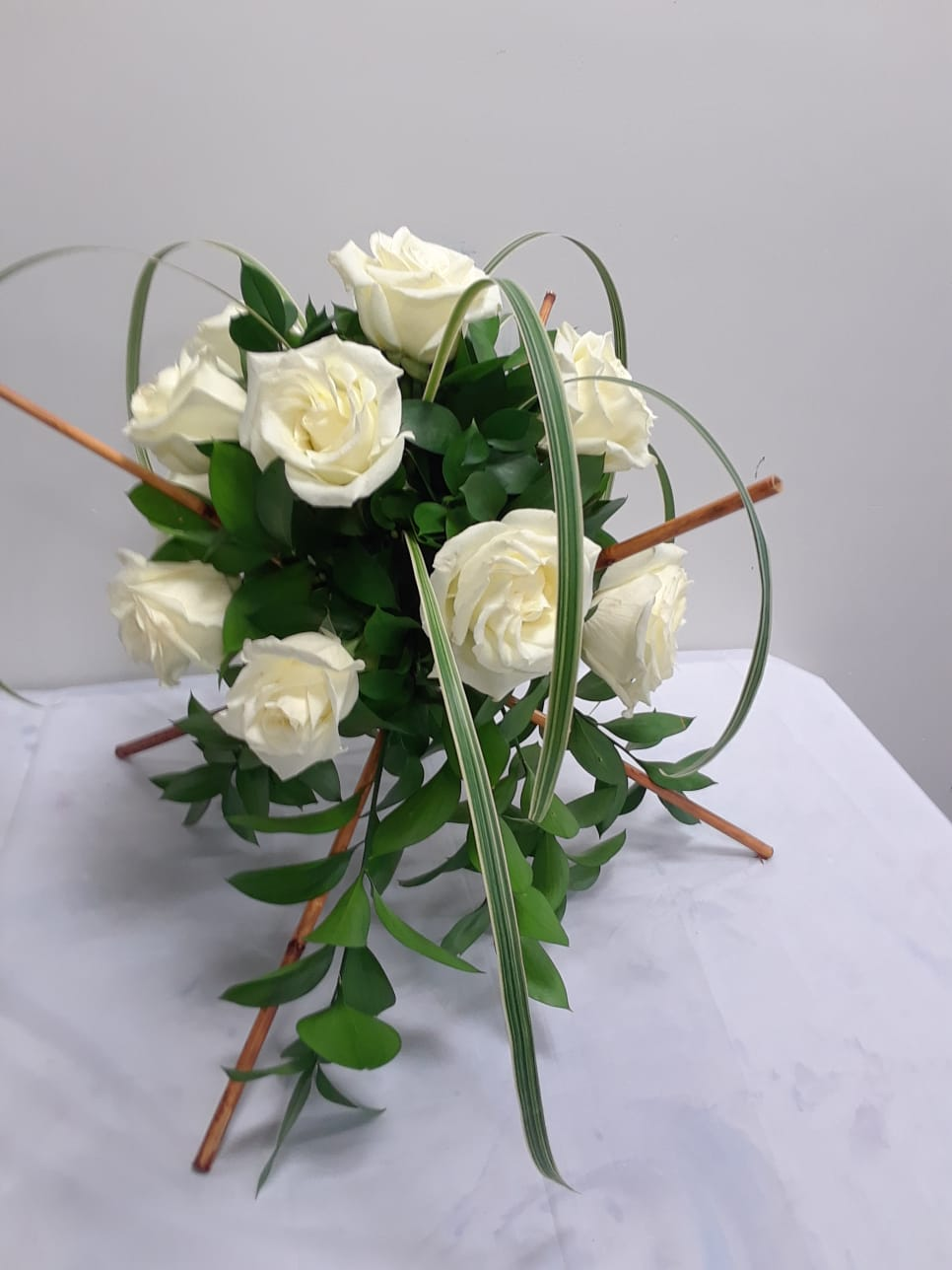 Roses and Bamboo: White Roses