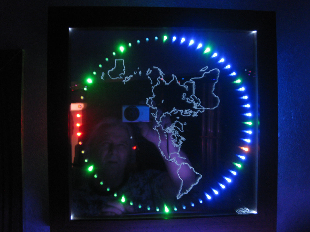 12 Quot Mirror Clock With Lighted Flat Earth Map Flat Earth