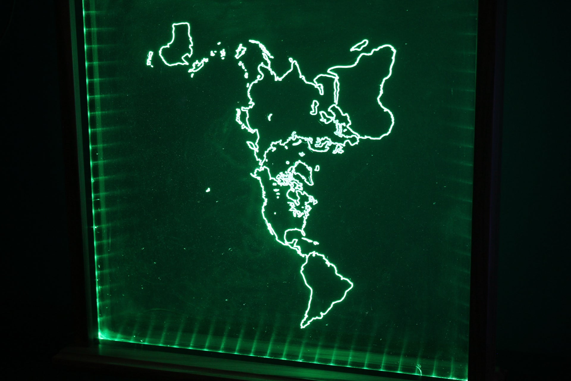 Lighted Acrylic Flat Earth map