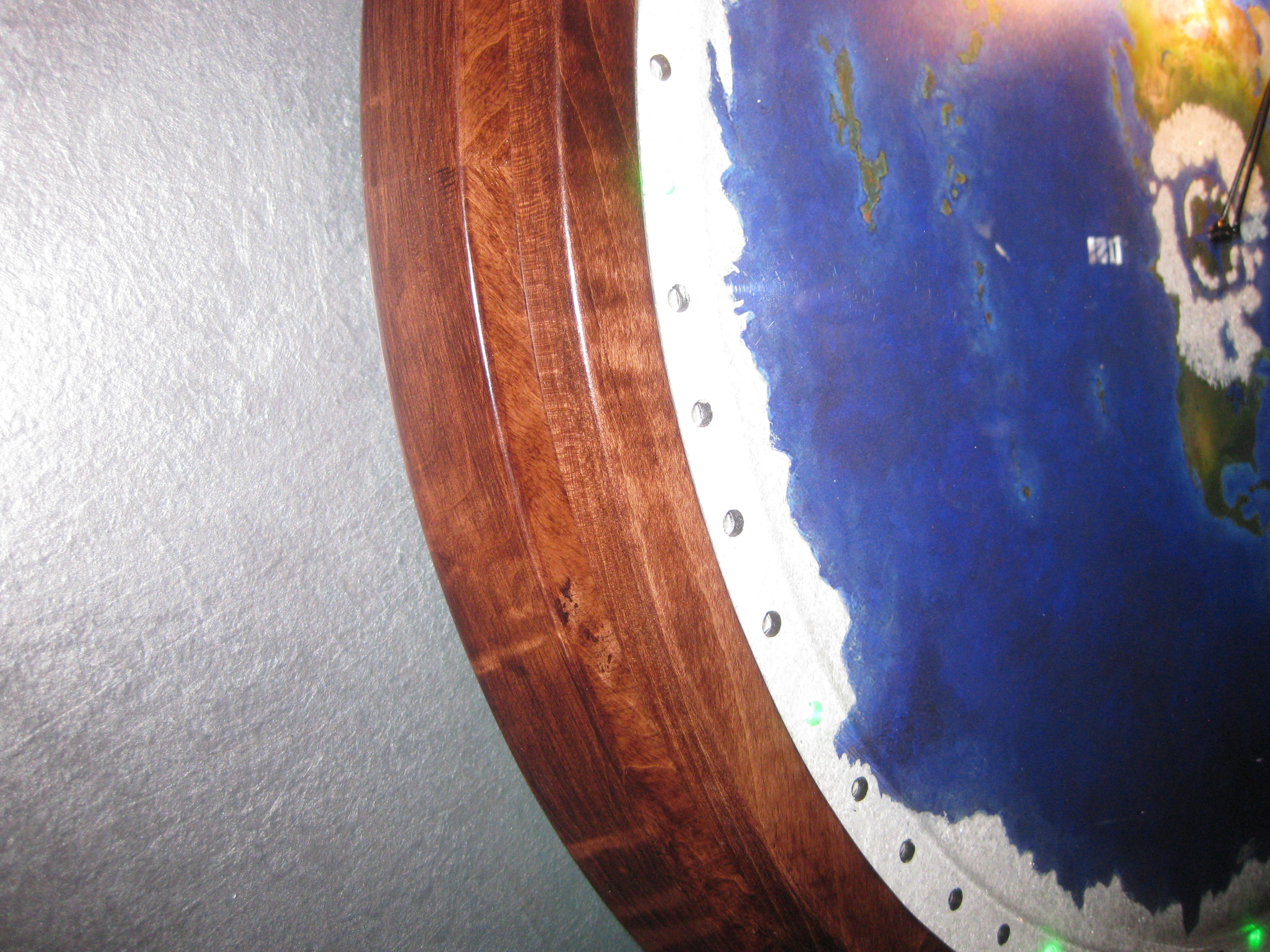 "#90  19"" Tiger Eye frame with clock"