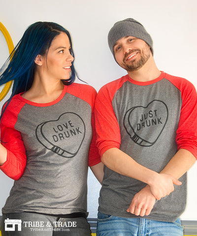 love drunk just drunk valentines day couples tshirts