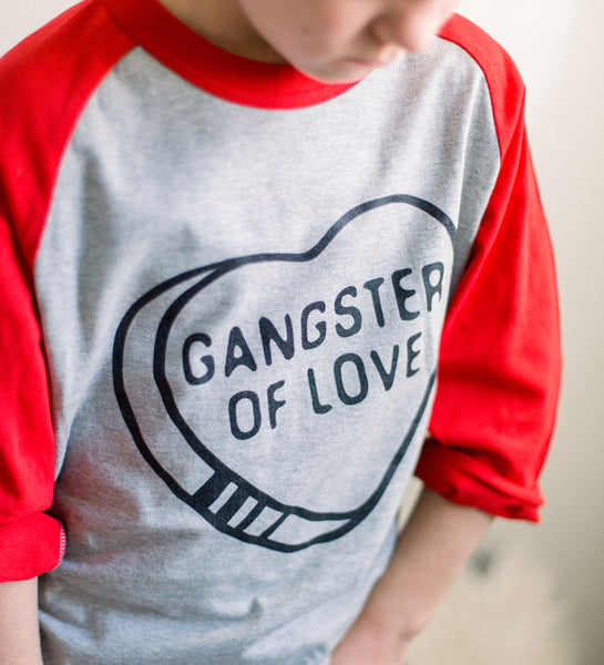 """Gangster of Love"" Red & Gray Kids Raglan Tee"