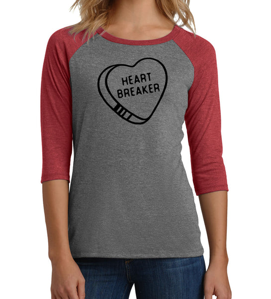 """Heartbreaker"" Women's Red & Gray Raglan Tee"