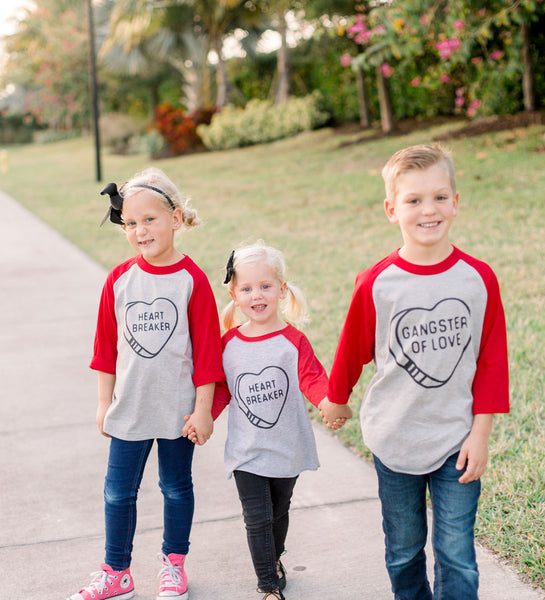"""Heartbreaker"" Red & Gray Kids Raglan Tee"