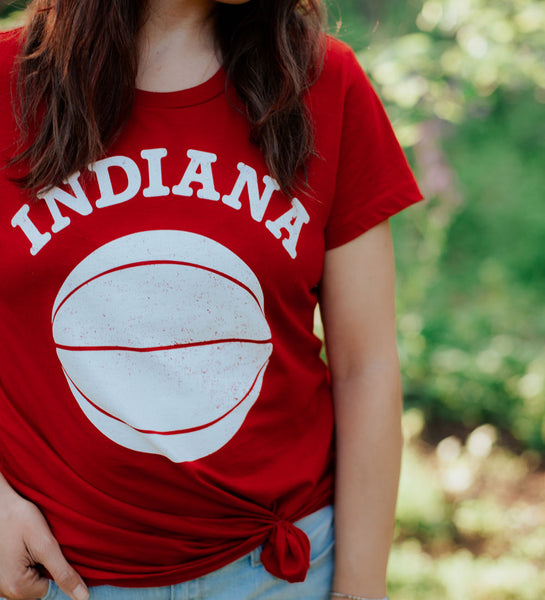 """Indiana Basketball"" Red Womens Tee"