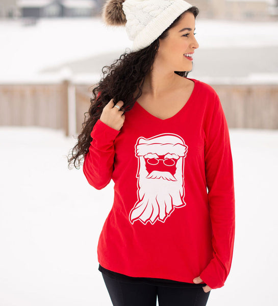 Santa Clause Indiana Red Womens Long Sleeve V-Neck Tee
