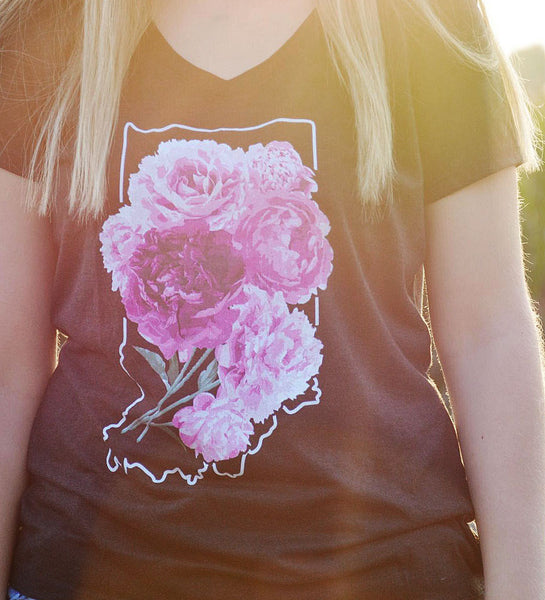 """Indiana Peonies"" Womens Vintage Black V-Neck Tee"