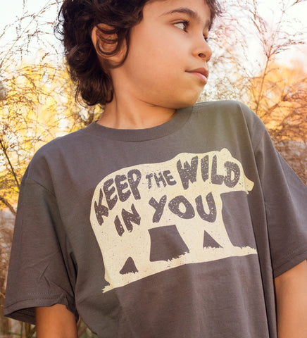 """Keep the Wild in You"" Charcoal Gray Kids Tee"