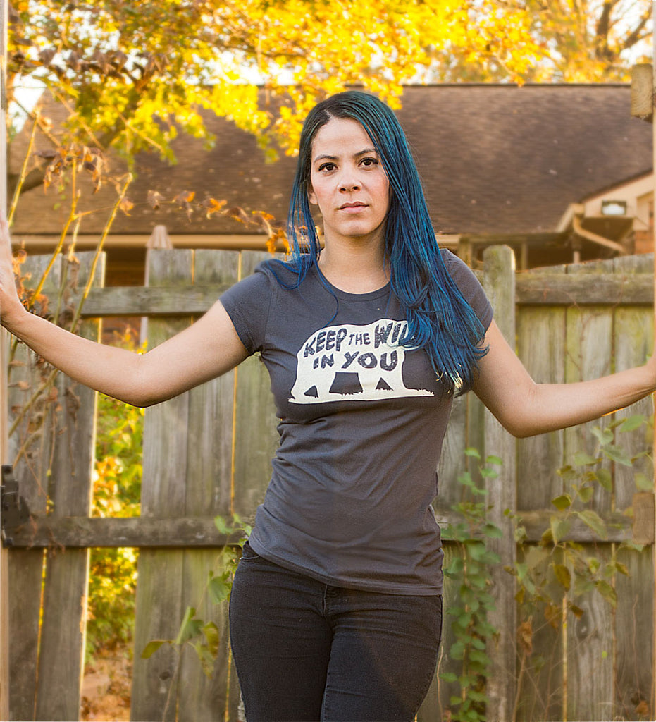 """Keep the Wild in You"" Womens Charcoal Gray Tee"