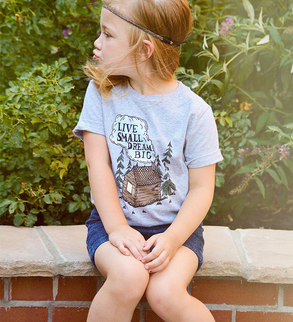 """Live Small, Dream Big"" Gray Kids Tee"