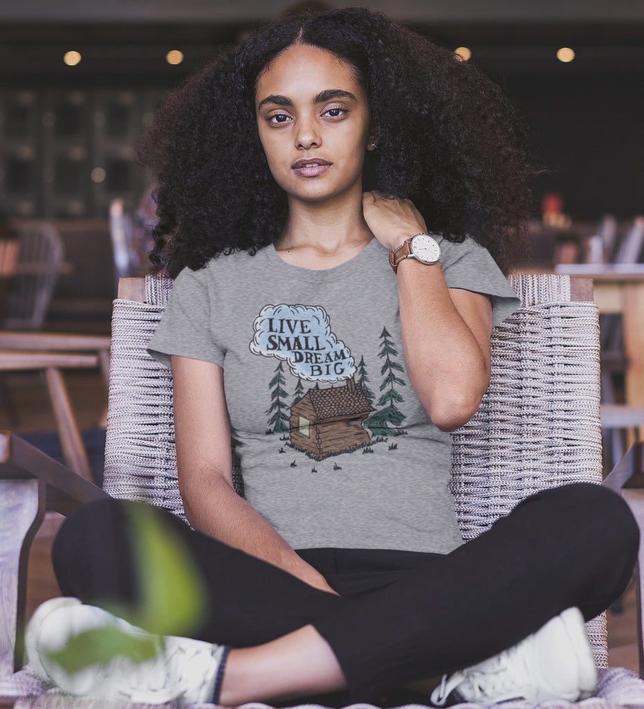 """Live Small Dream Big"" Womens Light Gray Tee"