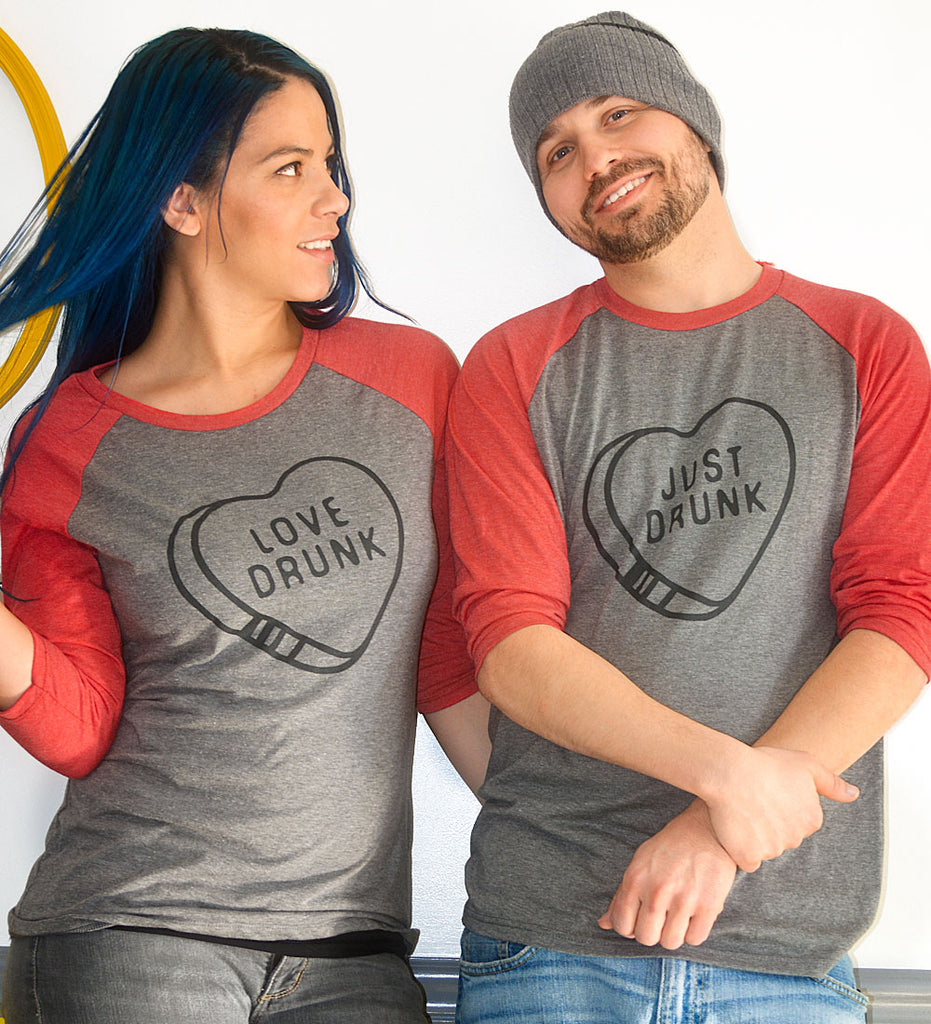 """Love Drunk / Just Drunk"" Red & Gray Raglan Tees"