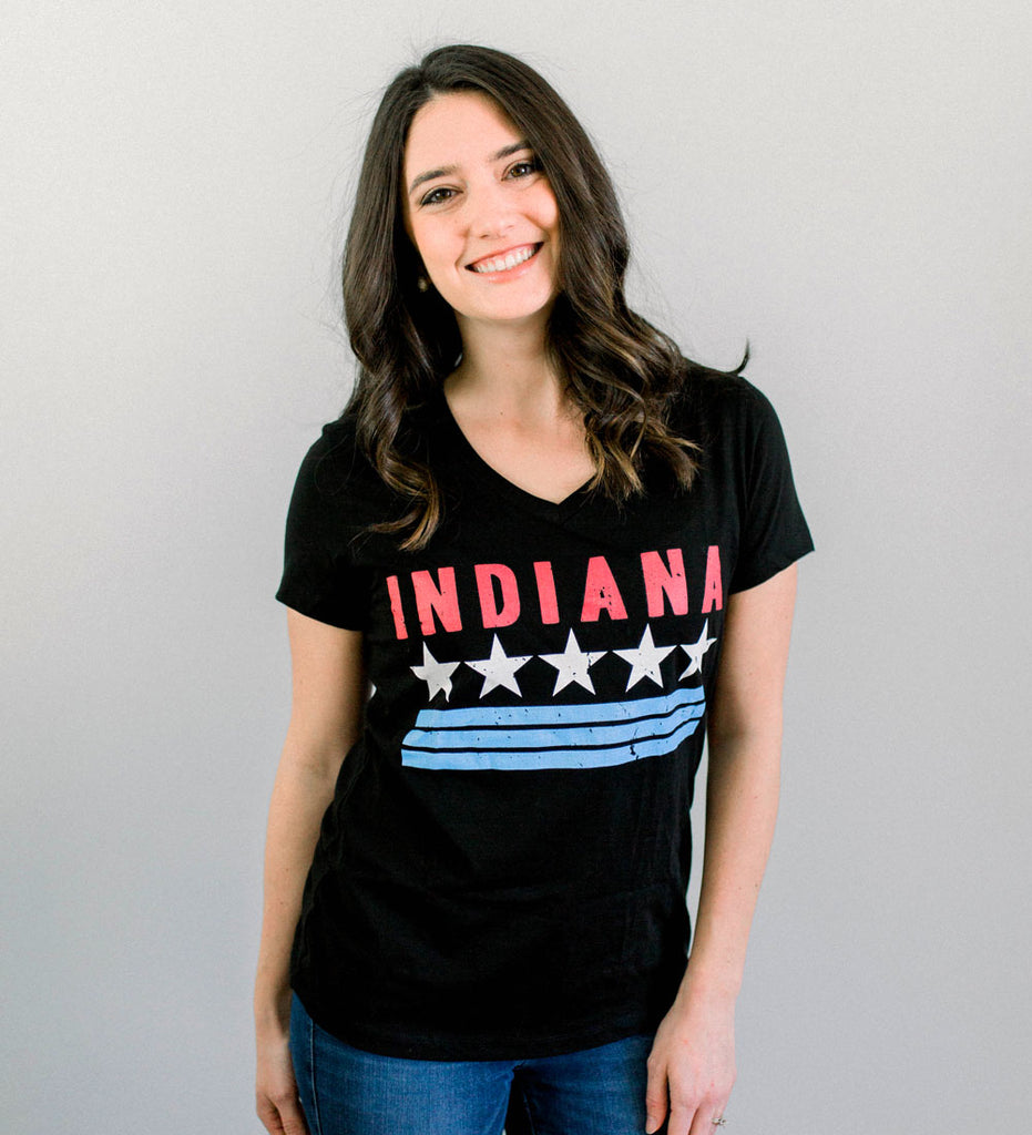 """Indiana"" Womens V-Neck Black Tee"