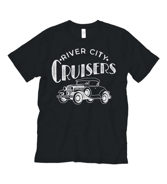 """River City Cruisers"" Vintage Black Tee"