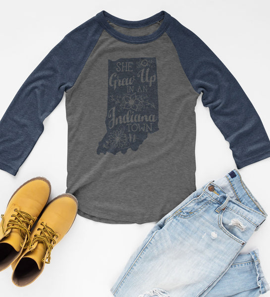 """She Grew Up In An Indiana Town"" Womens Vintage Blue/Gray Raglan Tee"