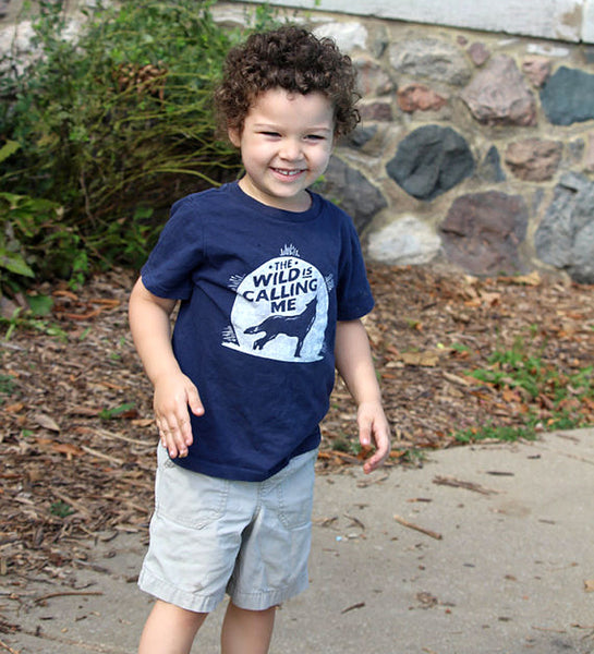 """Wild is Calling"" Navy Kids Tee"