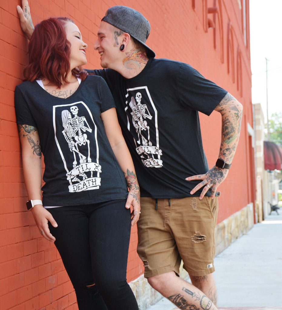 """Til Death"" Womens V-Neck Black Tee"
