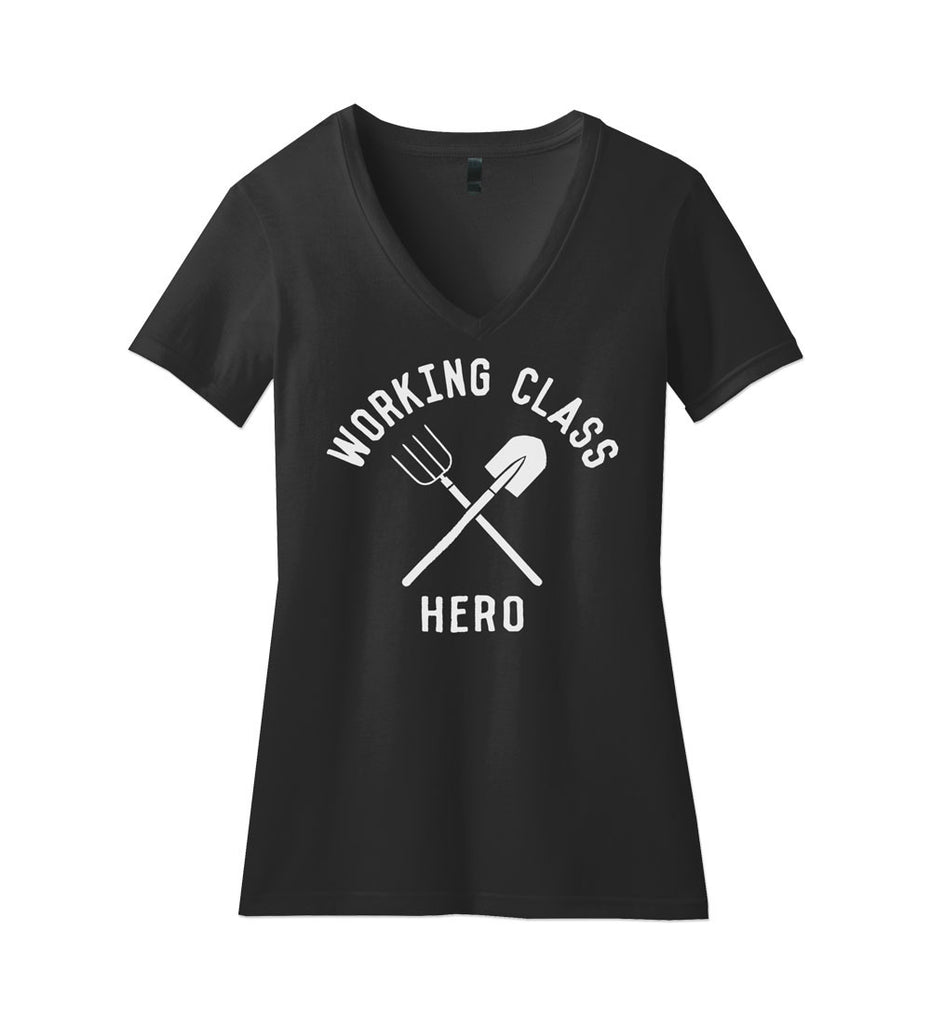 """Working Class Hero - Homesteader"" Womens Black V-Neck Tee"