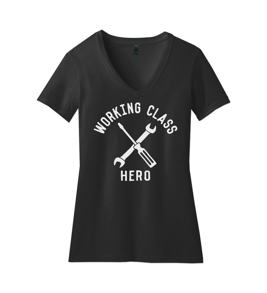 """Working Class Hero - Mechanic"" Womens Black V-Neck Tee"