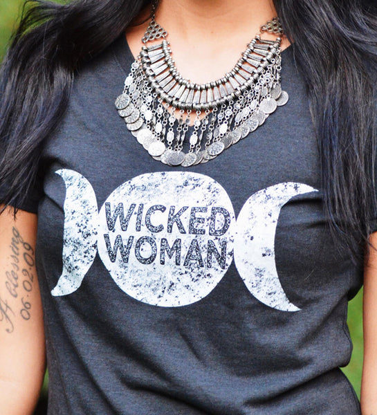"""Wicked Woman"" Vintage Gray Womens V-Neck Tee"