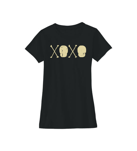 """Skull & Crossbones XOXO"" Girls Black Tee"