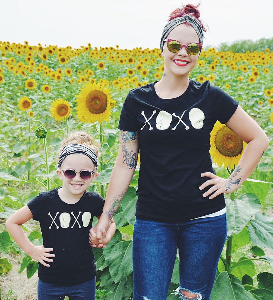 """XOXO - Skull and Crossbones"" Black Womens Tee"