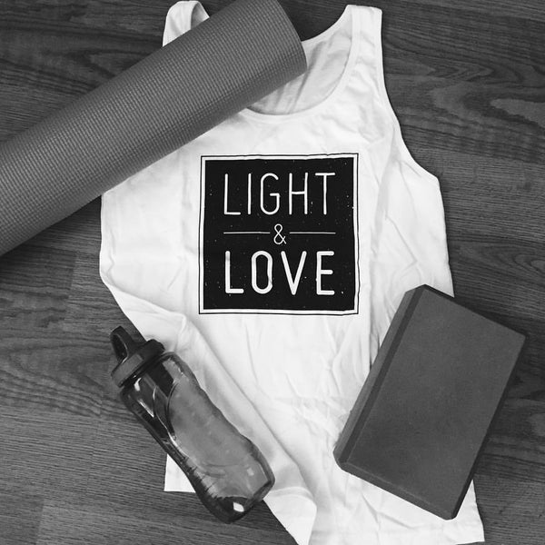 """Light and Love"" White Tank Top"