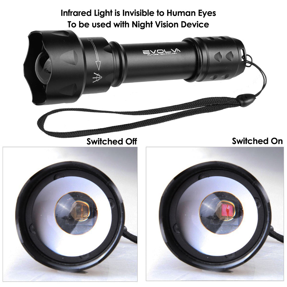 T20 IR 38mm Lens Infrared Light Night Vision Flashlight Torch