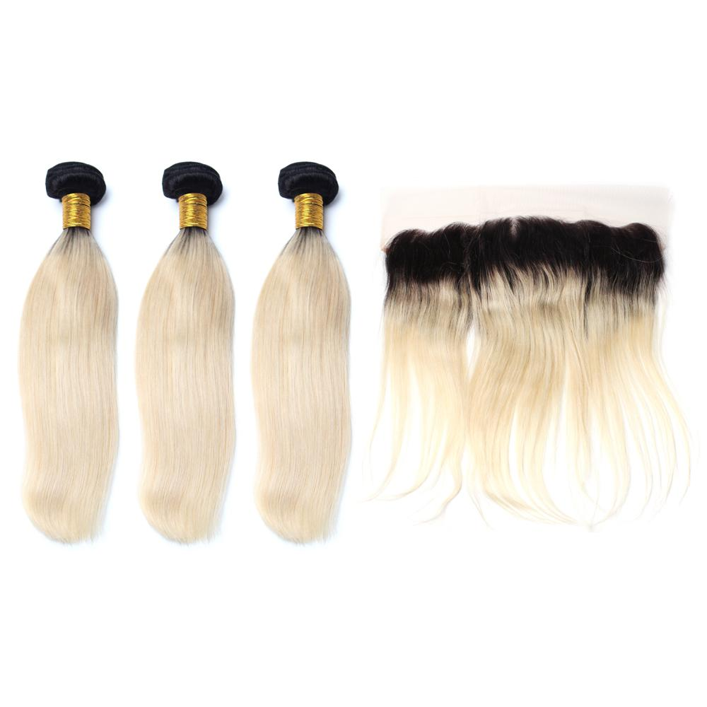 Luxury 10a 1b 613 Blonde Ombre Straight Hair 3 Bundles With 1 Pc