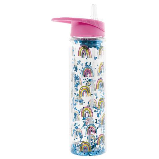 Rainbow & Hearts Glitter Water Bottle