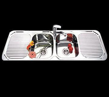 1500mm Kitchen Sink - Double Bowl, Double Drainer