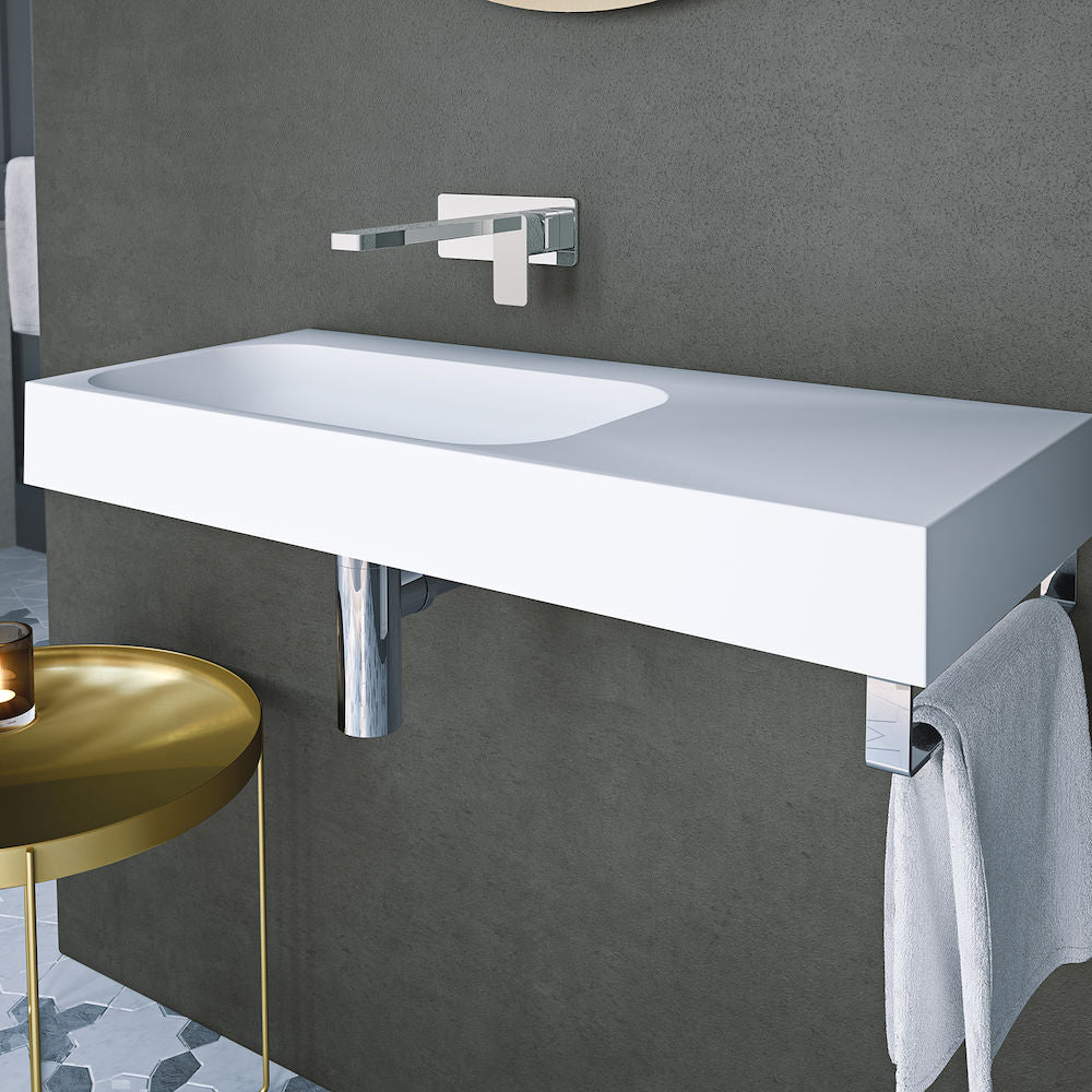 Caroma Sunstone 900 Solid Surface Wall Basin Right Hand Shelf