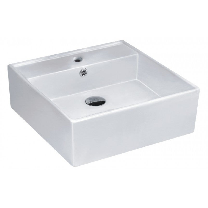 Above Counter/Wall-hung Square White Bathroom Vanity Ceramic Basin Sink 410*410*150mm